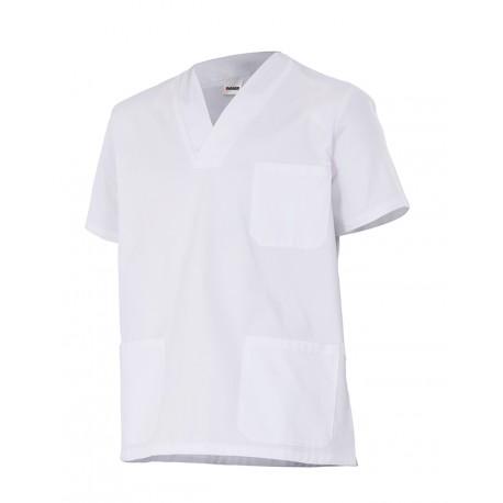 Camisola sanitaria m/c, cuello pico