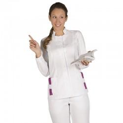Blusa sanitario Sra. blanca (trabillas contraste)